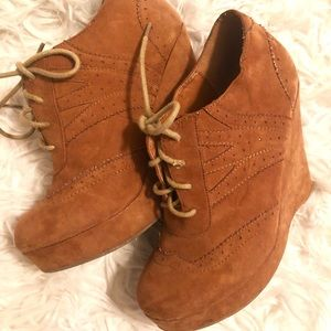 Brown heel booties